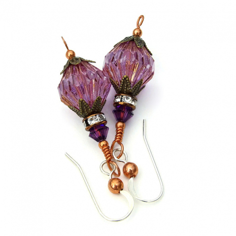 Purple earrings gift idea for women