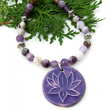 Lotus pendant and purple fire agate necklace