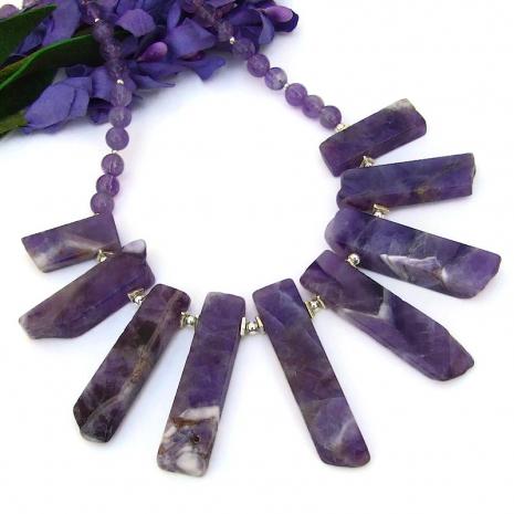 purple amethyst gemstone necklace sterling silver