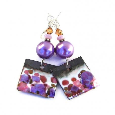 purple and pink enamel earrings gift for women