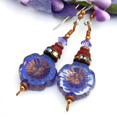 striped purple flower earrings for women