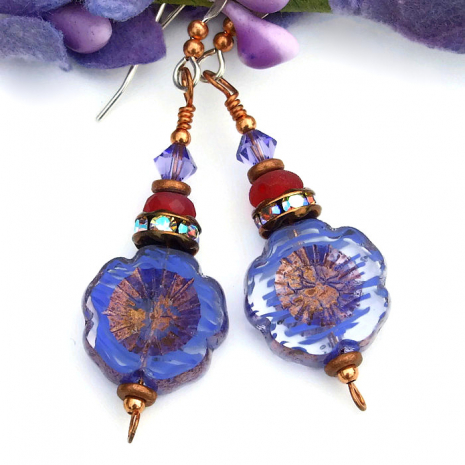 purple pansy jewelry with crystals gift idea for women