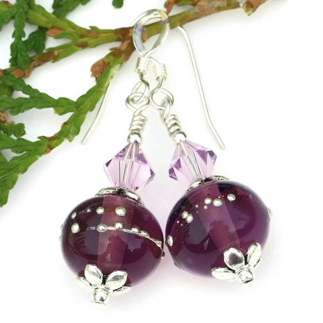 purple lampwork and crystals earrings gift for women