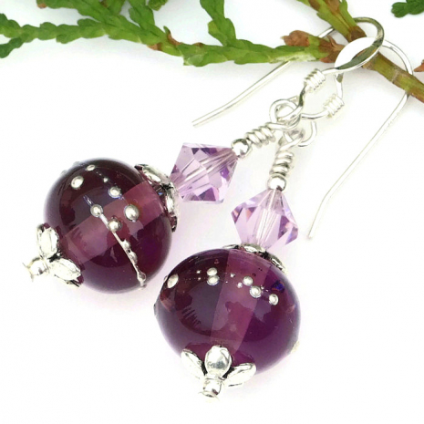 purple and silver earrings mothers day gift