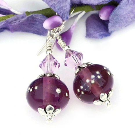 one of a kind purple and silver lampwork jewelry for Mothers Day