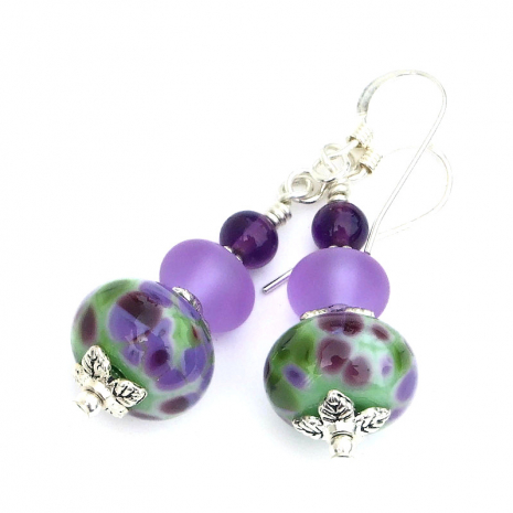 purple green lampwork amethyst earrings gift for women