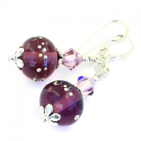 purple lampwork and crystals jewelry gift for women