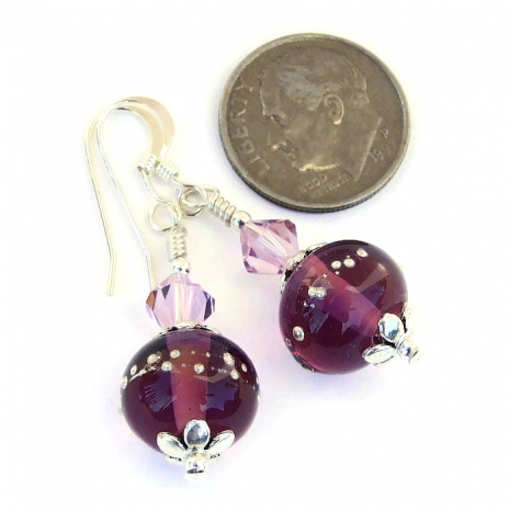 perfect earrings gift for the woman who loves purple