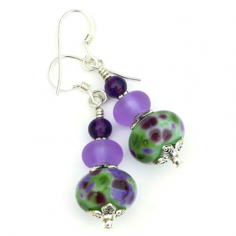 purple lilac inspired lampwork glass earrings gift for her