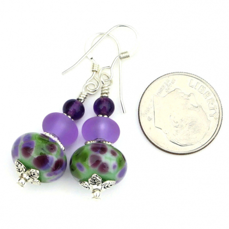 purple lilac inspired lampwork glass jewelry gift for her