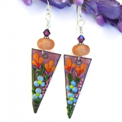 beautiful flower earrings jewelry gift for her