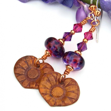 copper daisy flower heart charms with lampwork and Swarovski crystals