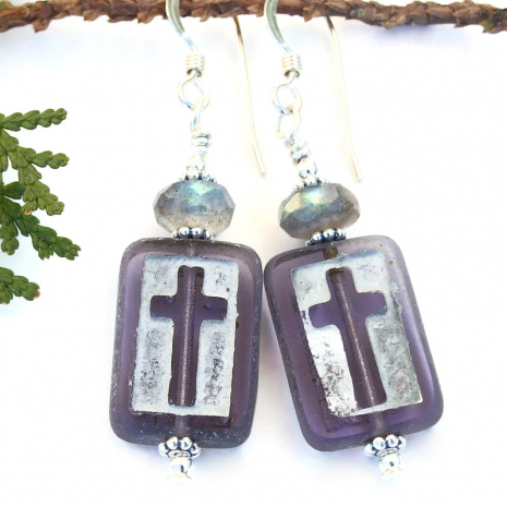 purple silver gray handmade cross earrings labradorite gemstones