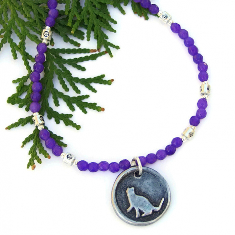 One of a kind cat necklace - gift idea for her.