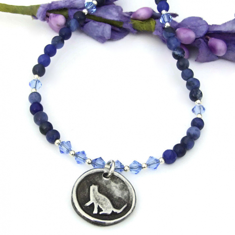 cat necklace with blue sodalite gemstones and Swarovski crystals