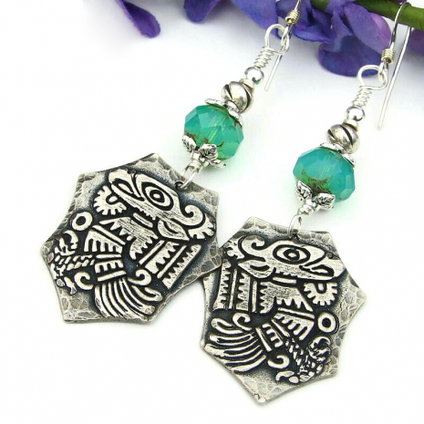 quetzalcoatl quetzal bird earrings god mayan aztec silver