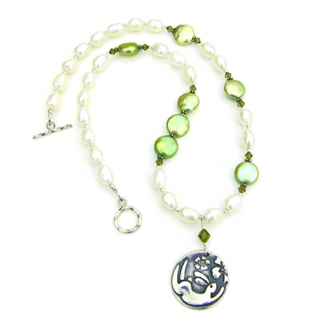 rabbit and flowers easter necklace for women with pearls