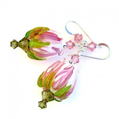 Artisan handmade rose bud earrings.