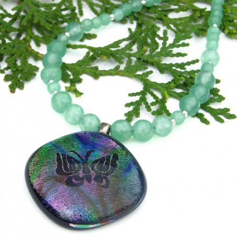 rainbow butterfly dichroic pendant jewelry with green aventurine