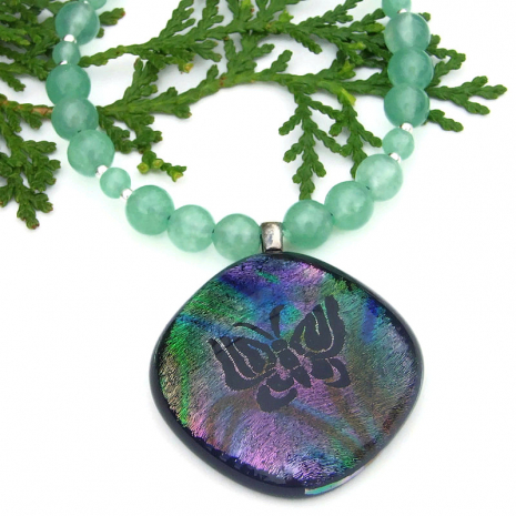 rainbow butterfly dichroic pendant necklace with green aventurine