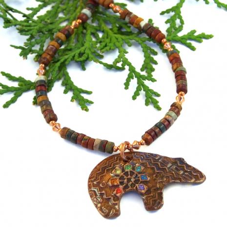 rainbow chakra spirit bear jewelry with red creek jasper gift for her