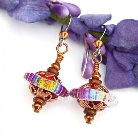 lampwork glass saturn bead earrings valentines gift