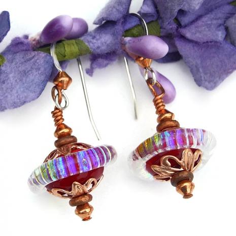 rainbow saturn glass  jewelry for women