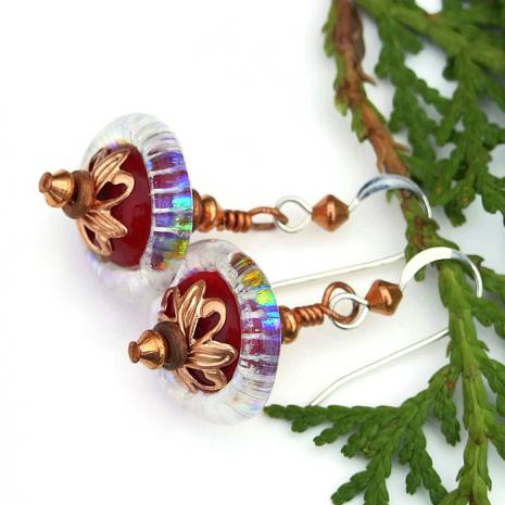 lampwork glass saturn bead jewelry valentines gift