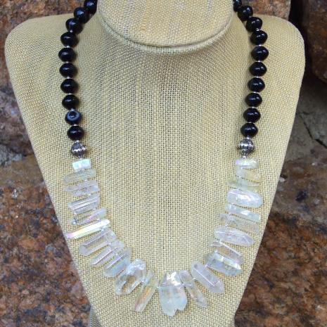 Quartz spike and black agate collar necklace for women.