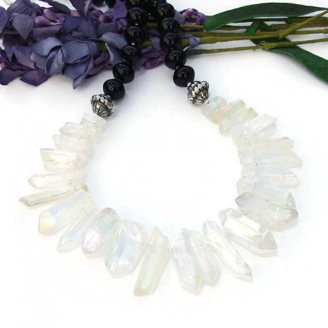 AB quartz point bib necklace for her, gift idea