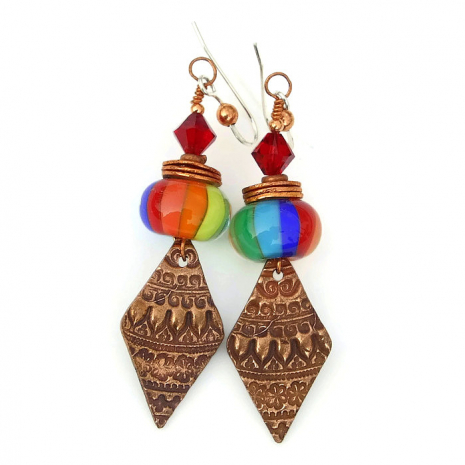 copper Moroccan lace and rainbow glass jewelry