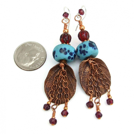 Boho leaf earrings - handmade gift idea.