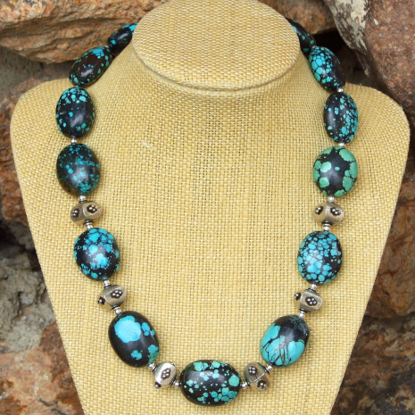 turquoise and sterling silver southwest necklace