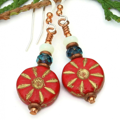 Red and copper flower earrings