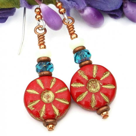 Red and copper flower jewelry gift idea