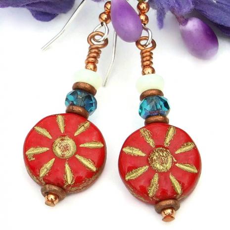 Red flower earrings handmade jewelry for women