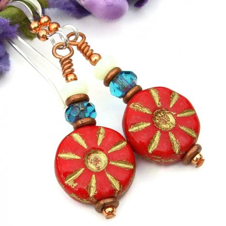 red flower earrings gift for women