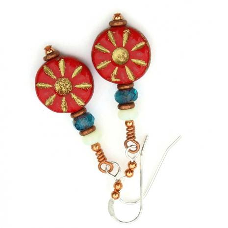red flower earrings gift idea for her