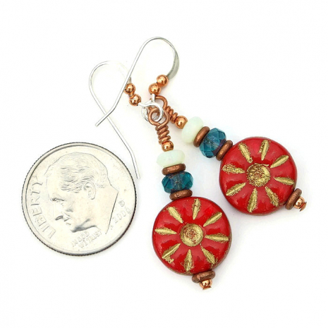 Red flower jewelry for women