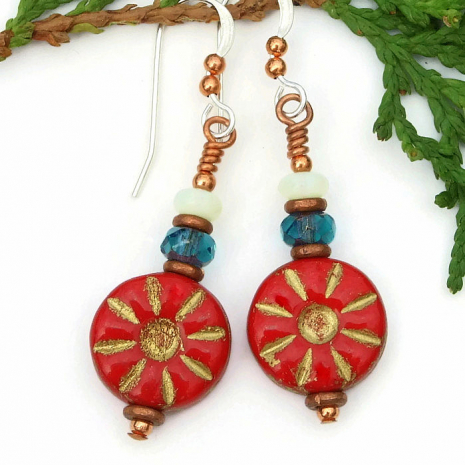 Red, teal and opal flower earrings for women