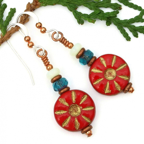 Red, teal and white opal flower jewelry for women