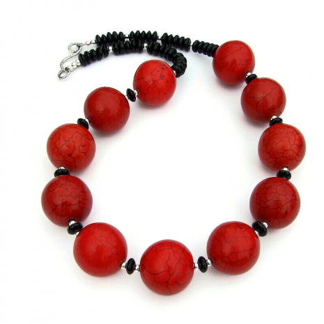 red and black chunky necklace gift for her