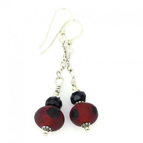 handmade red and black earrings gift for women