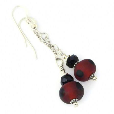matte red and black lampwork jewelry gift for women