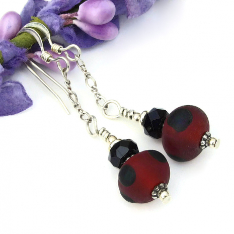 red and black jewelry with sterling silver chain