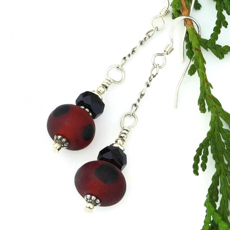 red and black earrings with sterling silver chain