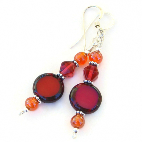 red and orange czech glass jewelry gift for women