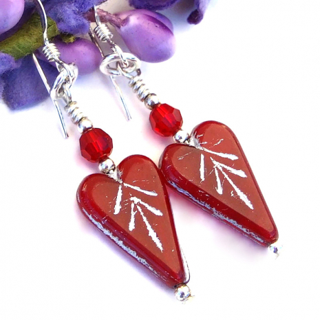 red and silver valentines heart earrings