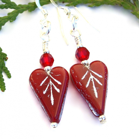 red and silver valentines heart jewelry