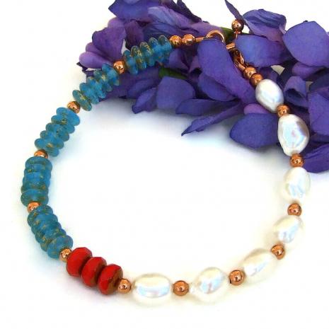 red aqua white pearls color block bracelet